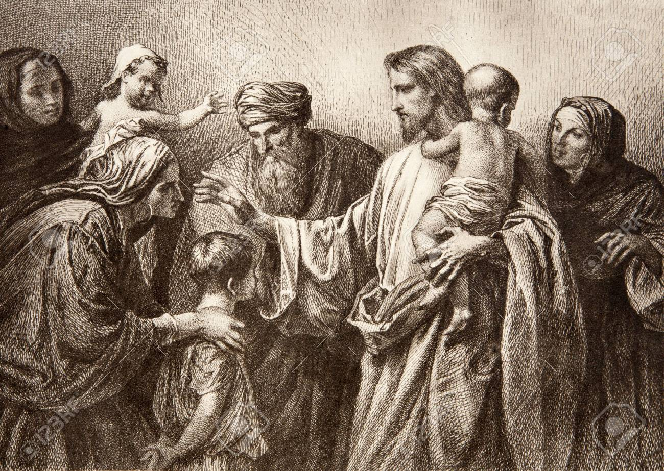 jesus and children engraving by lepold flumeng from early in