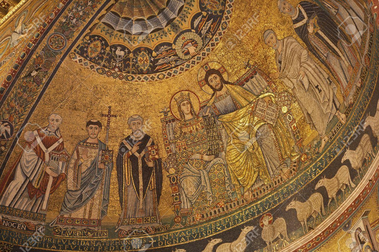 Guía turistica no convencional para Roma 14986704-roma-corontation-antiguo-mosaico-de-la-virgen-del-%C3%A1bside-principal-de-santa-mar%C3%ADa-en-trastevere-iglesia-