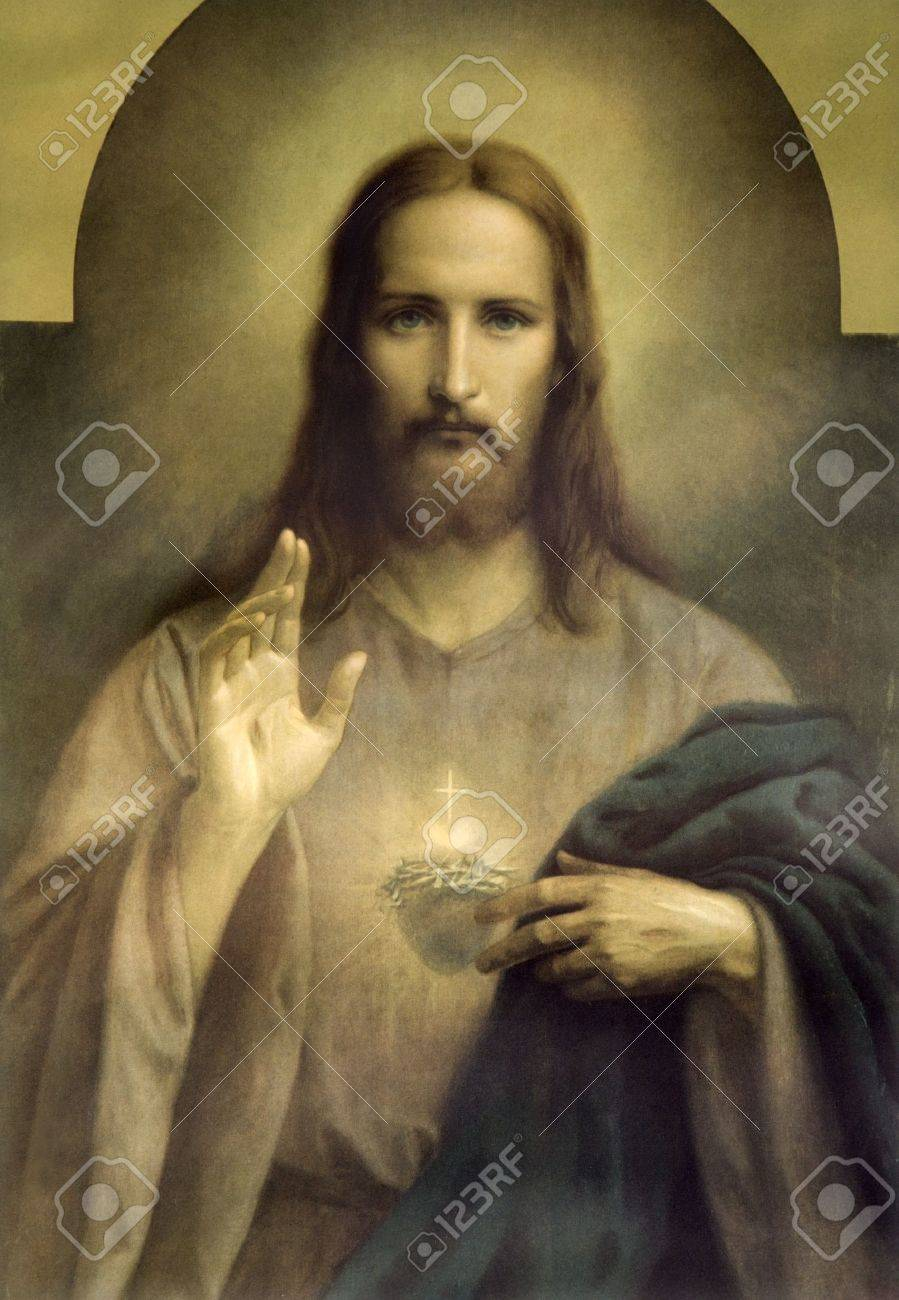 heart of jesus christ typical catholic image stock photo picture