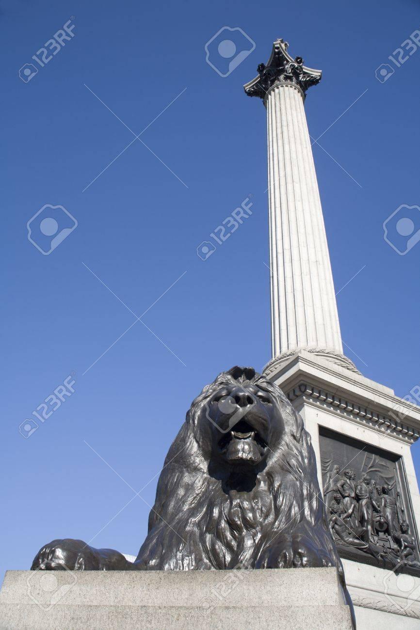 London - admiral Nelson column and lion - Trafalgar square Stock Photo - 15620508