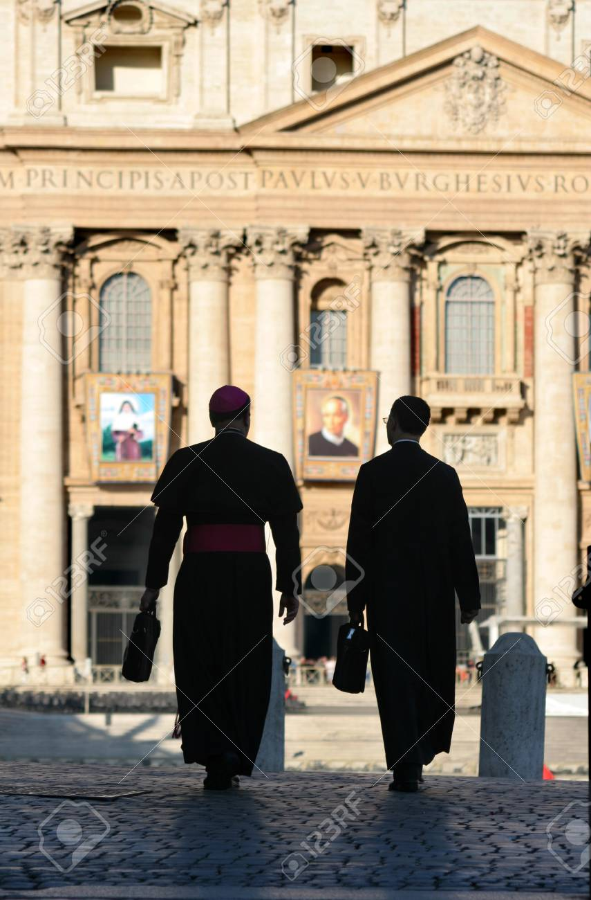 Rome - monsignors for st  Peters basilica - silhouette Stock Photo - 16558062