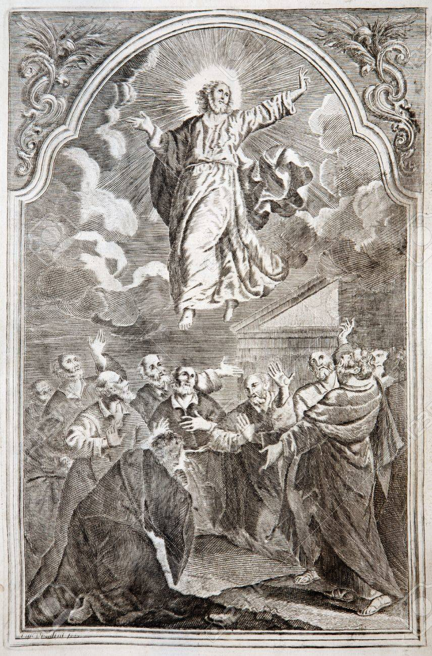 SLOVAKIA - 1727: Jesus ascension. Lithography print in Missale romanum  published by Augustae Vindelicorum