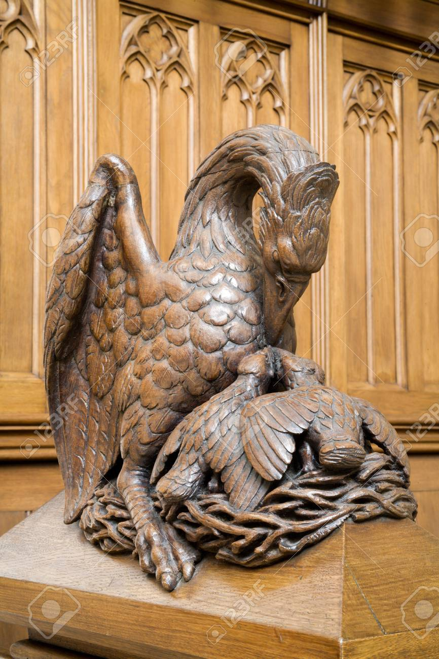 Pelican - symbol of Jesus redeemer - carving from st  Elizabeth church in Vienna Stock Photo - 17404859