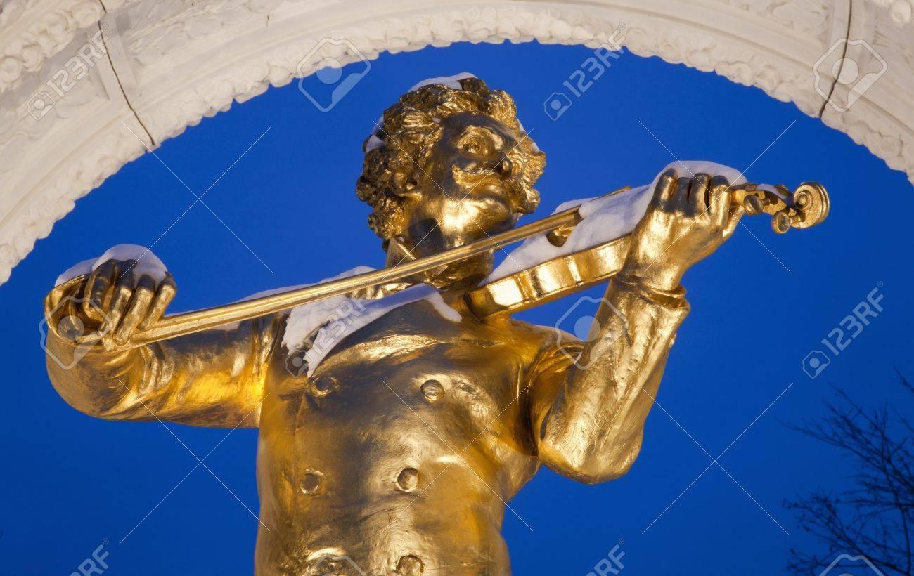 Johan Strauss memorial from Vienna Stadtpark in winter dusk Stock Photo - 17554574