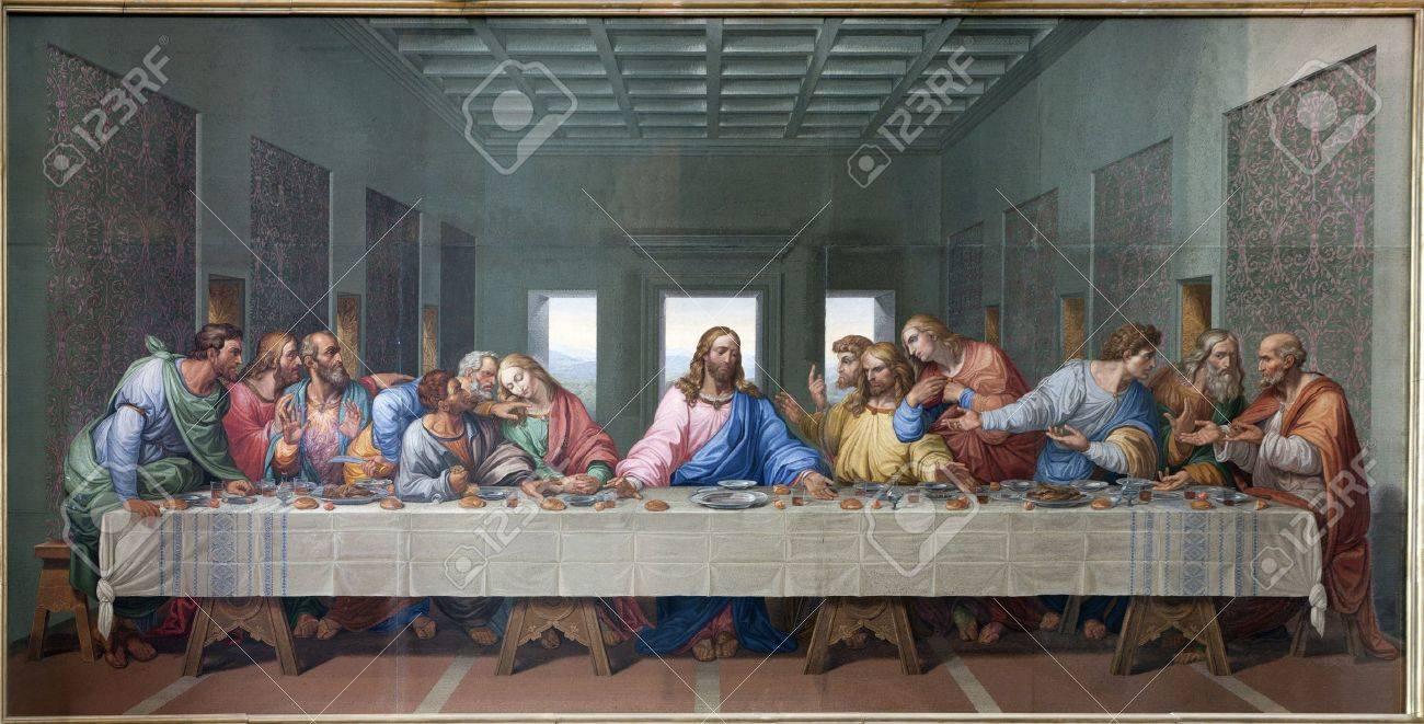 VIENNA - JANUARY 15  Mosaic of Last supper of Jesus by Giacomo Raffaelli from year 1816 as copy of Leonardo da Vinci work on January 15  2013 in VIenna  Stock Photo - 17554539