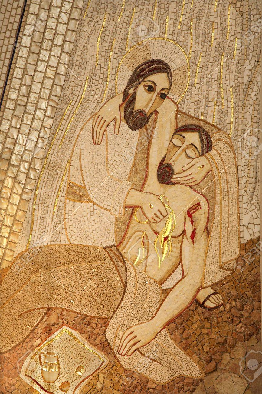 MADRID - MARCH 10  Modern mosiac of Good Samaritan by pater Rupnik from Capilla del Santisimo in Almudena cathedral on March 10, 2013 in Spain  Stock Photo - 18899447