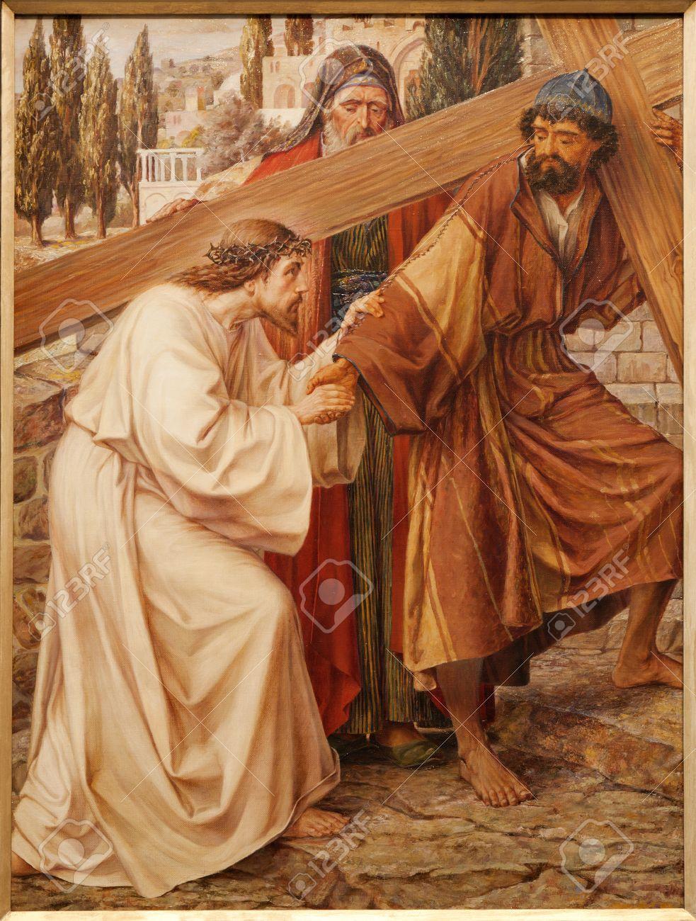 GENT - JUNE 23  Simon of Cyrene Helps Jesus Carry His Cross  Paint in st  Peter s church by Josef Piens Cooreman on June 23, 2012 in Gent, Belgium  Stock Photo - 18899358