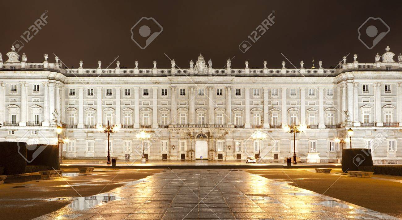 MADRID - MARCH 10  North facade of Palacio Real or Royal palace constructed between years 1738 and 1755 at night in March 10, 2013 in Madrid  Stock Photo - 19442714