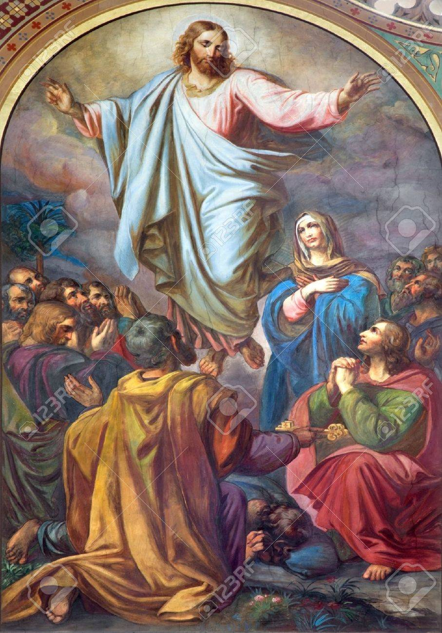 VIENNA - JULY 27:  Fresco of Ascension of the Lord in nave of Altlerchenfelder church from 19. cent. on July 27, 2013 Vienna. Stock Photo - 21519611
