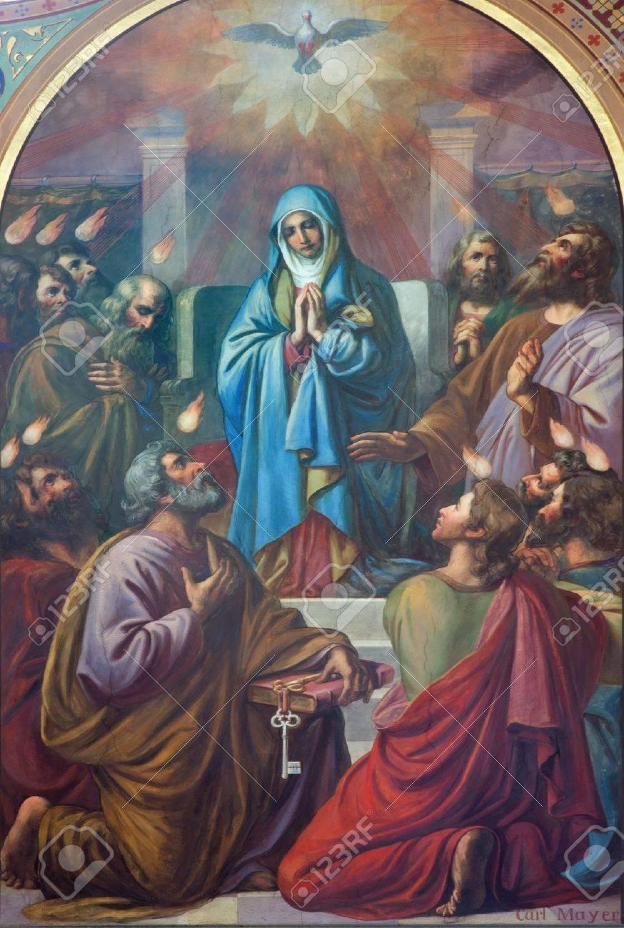 VIENNA - JULY 27: Fresco of Pentecost scene from 19. cent. by Carl Mayer in Altlerchenfelder church on July 27, 2013 Vienna. Stock Photo - 21519612