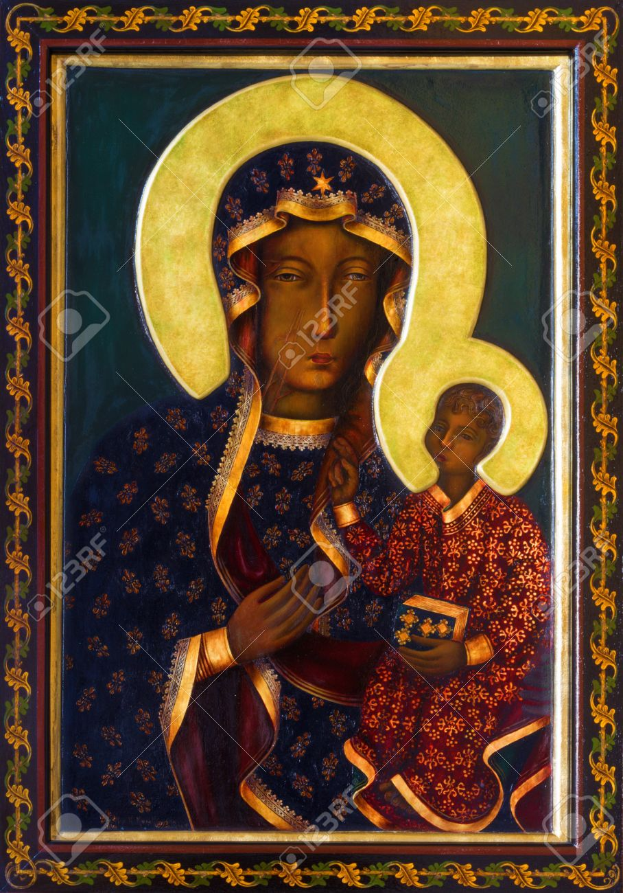 VIENNA - JULY 27: Icon of black Madonna from side altar of Altlerchenfelder church from 19. cent. on July 27, 2013 Vienna. Stock Photo - 21519626