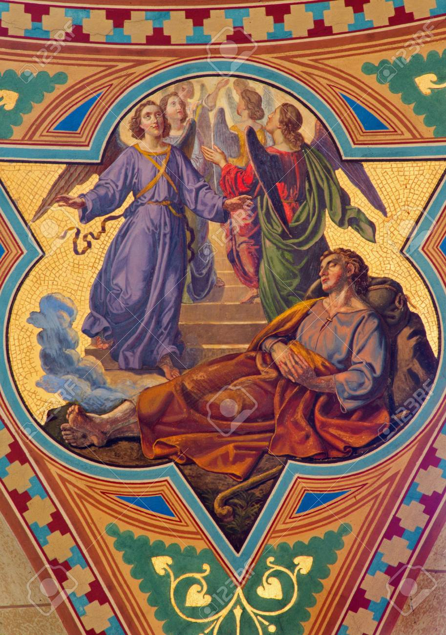 VIENNA - JULY 27:  Fresco of Dream of Jacob in Altlerchenfelder church from 19. cent.  on July 27, 2013 Vienna. Stock Photo - 21519563