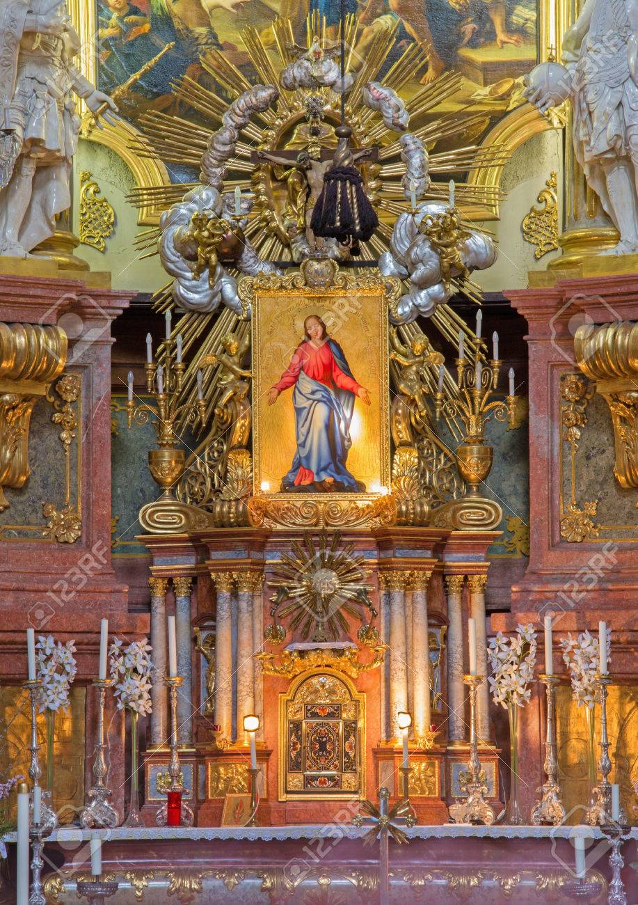 Vienna July 3 Main Altar Of Baroque St Peter Church Or