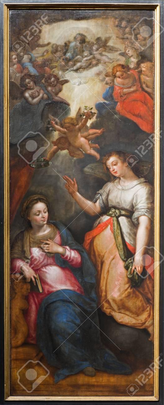 MECHELEN, BELGIUM - SEPTEMBER 6: Annunciation - triptych Resurrection of Christ by J. Snellinckx (1544 - 1588) in St. Rumbold's cathedral on September 6, 2013 in Mechelen, Belgium. Stock Photo - 25091458