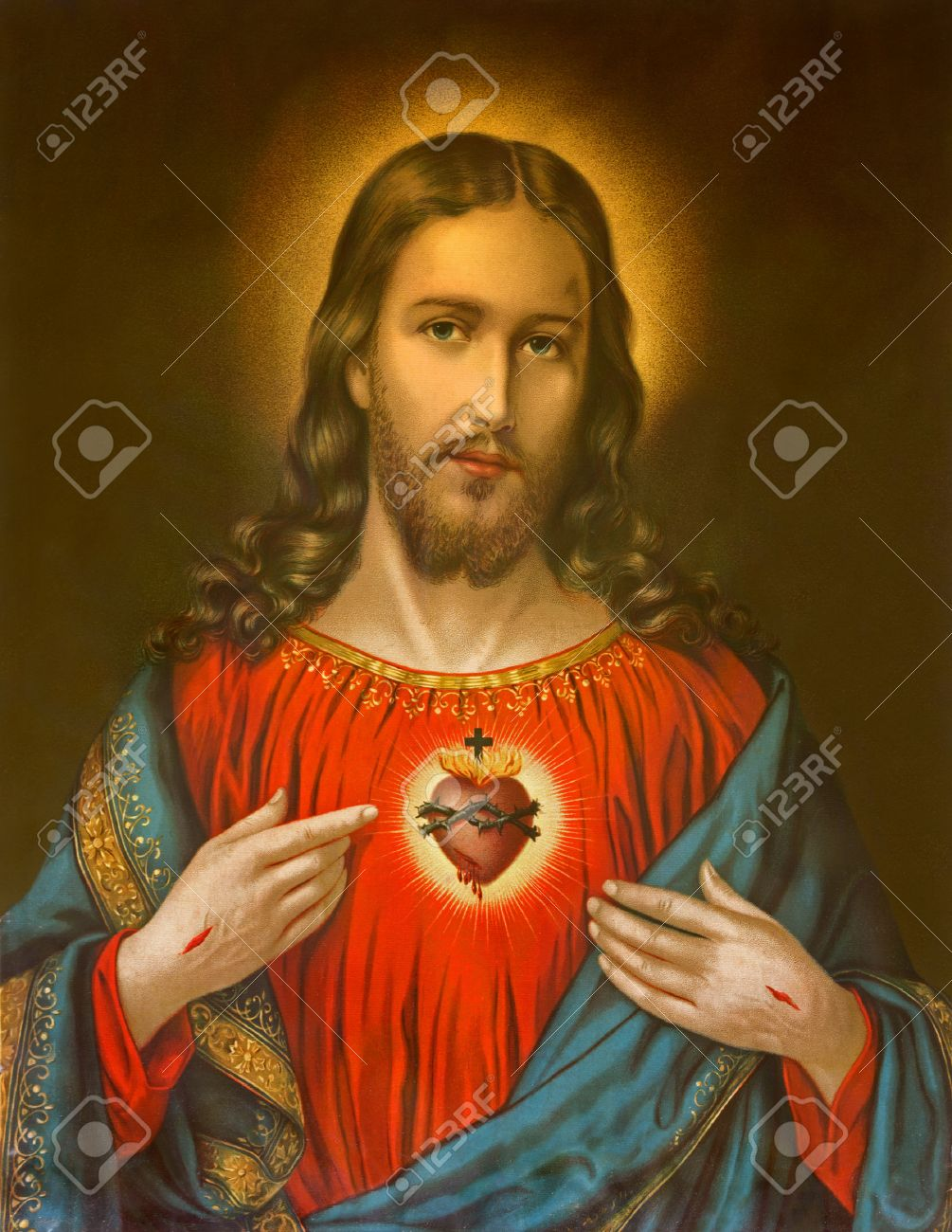 GERMANY 1899: Copy of typical catholic image of heart of Jesus Christ from Slovakia printed on 19. april 1899 in Germany. Stock Photo - 25091499