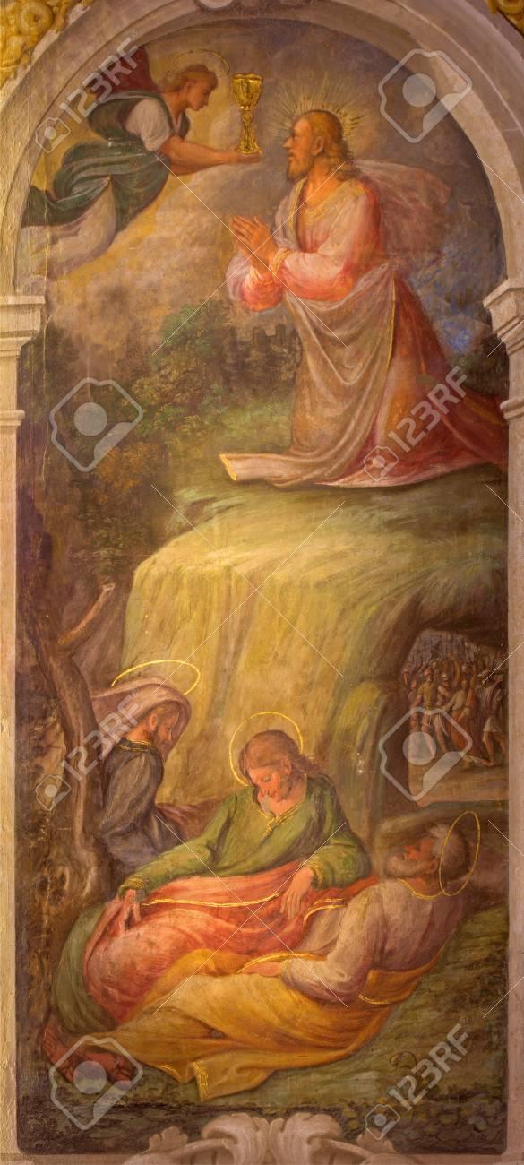 Bologna Italien 17 März 2014 Fresko Des Gebets Jesu Im Garten