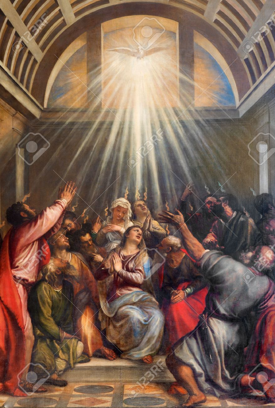 VENICE, ITALY - MARCH 13, 2014: The Descent of the Holy Ghost by Titian (1488 - 1576) in church Santa Maria della Salute. Stock Photo - 28766429