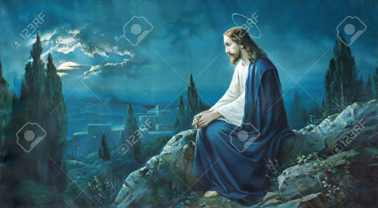 ROZNAVA, SLOVAKIA - JULY 21, 2014: The prayer of Jesus in the Gethsemane garden. Typical cahtolic printed image from the end of 19. cent. - 30671553