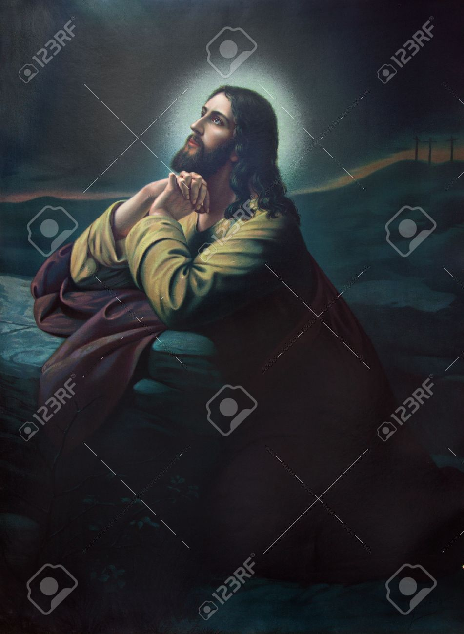 SEBECHLEBY, SLOVAKIA - JULY 31, 2014: The prayer of Jesus in the Gethsemane garden. Typical cahtolic printed image from the end of 19. cent. originally by painter with the nickname Lindberg Stock Photo - 30671560