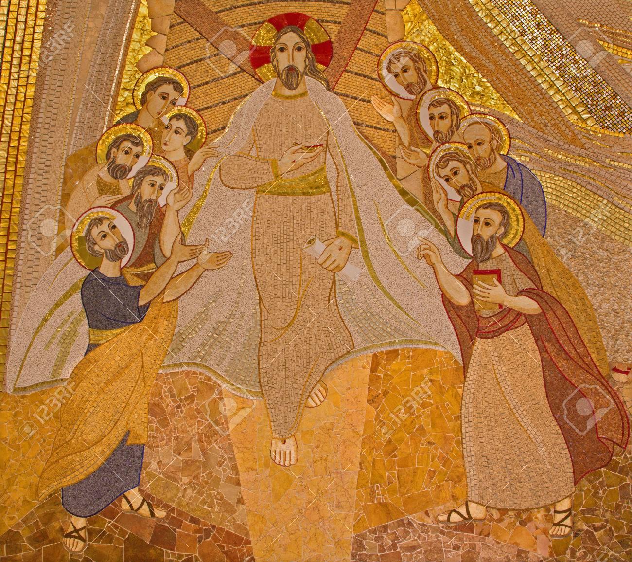 BRATISLAVA , SLOVAKIA - OCTOBER 1, 2014_ The mosaic of resurrected Christ among the apostles in the Saint Sebastian cathedral designed by jesuit Mar?ko Ivan Rupnik (2011). - 32477658