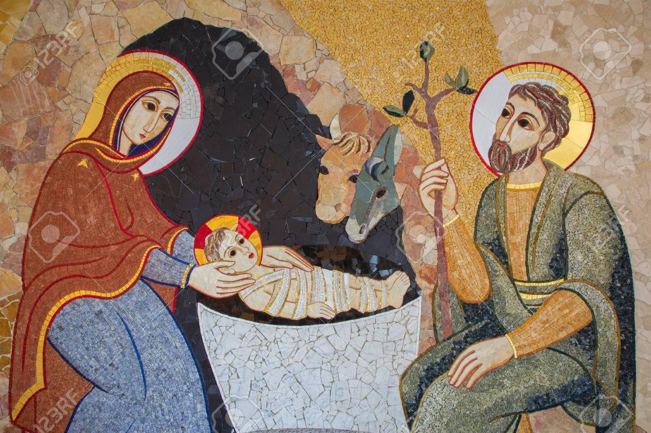 BRATISLAVA , SLOVAKIA - OCTOBER 1, 2014_ The mosaic of Nativity in the baptistery of the Saint Sebastian cathedral designed by jesuit Mar?ko Ivan Rupnik (2011). Stock Photo - 32477659
