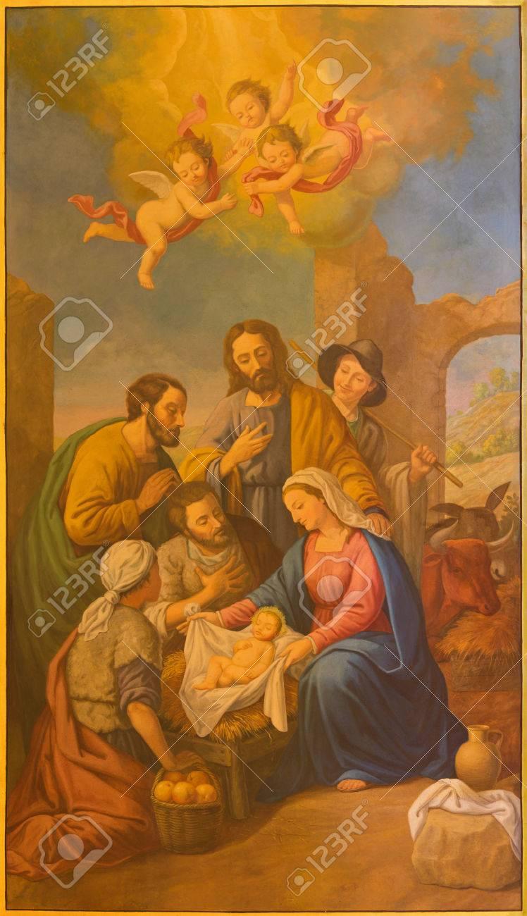 SEVILLE, SPAIN - OCTOBER 29, 2014: The fresco of Nativity in church Basilica de la Macarena by Rafael Rodrguez (1984) in neobaroque style. - 33858609