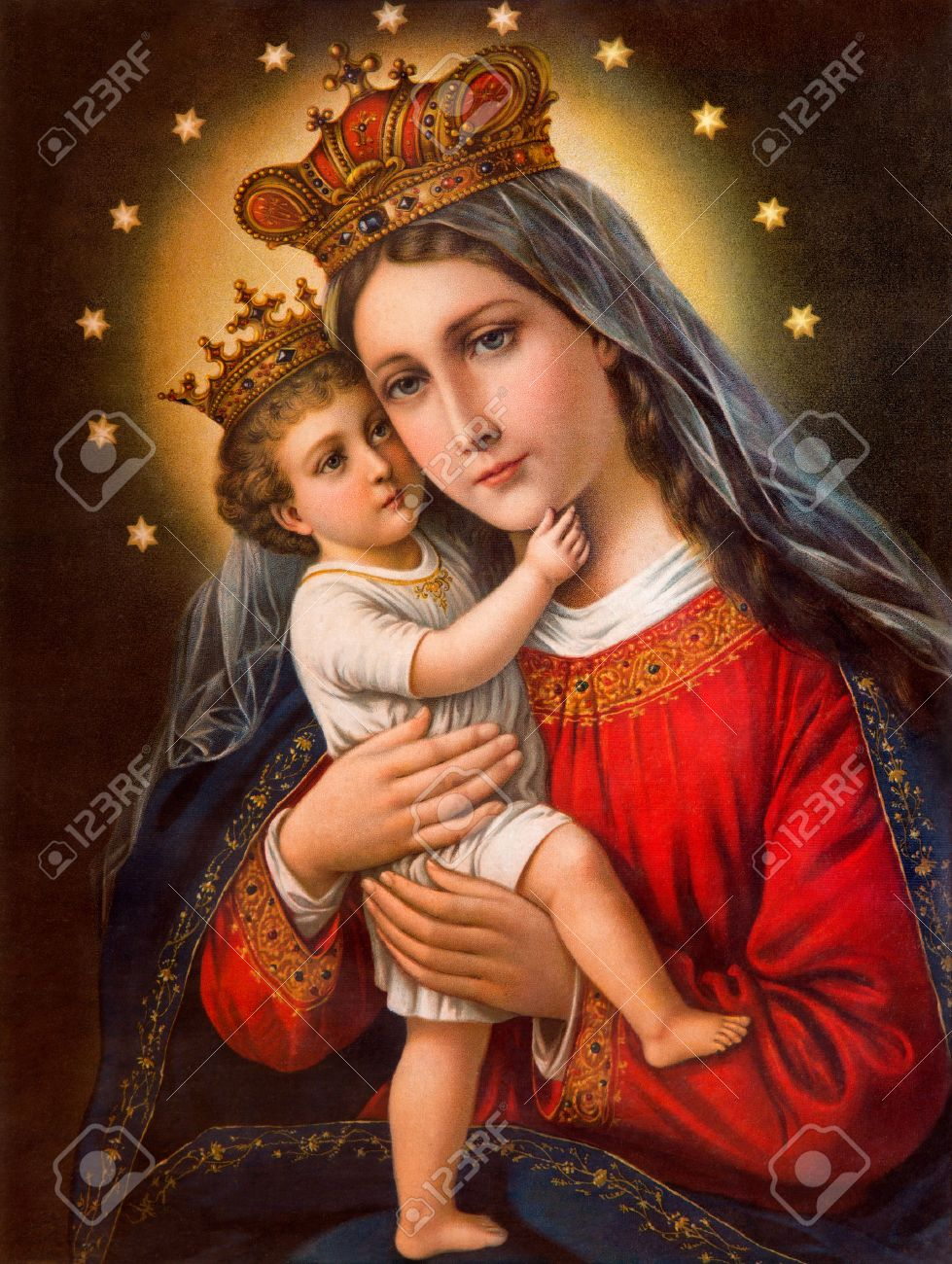 SEBECHLEBY, SLOVAKIA - JANUARY 2, 2015:  Typical catholic image of Madonna with the child printed in Germany from the end of 19. cent. originally by unknown painter. Stock Photo - 35493550