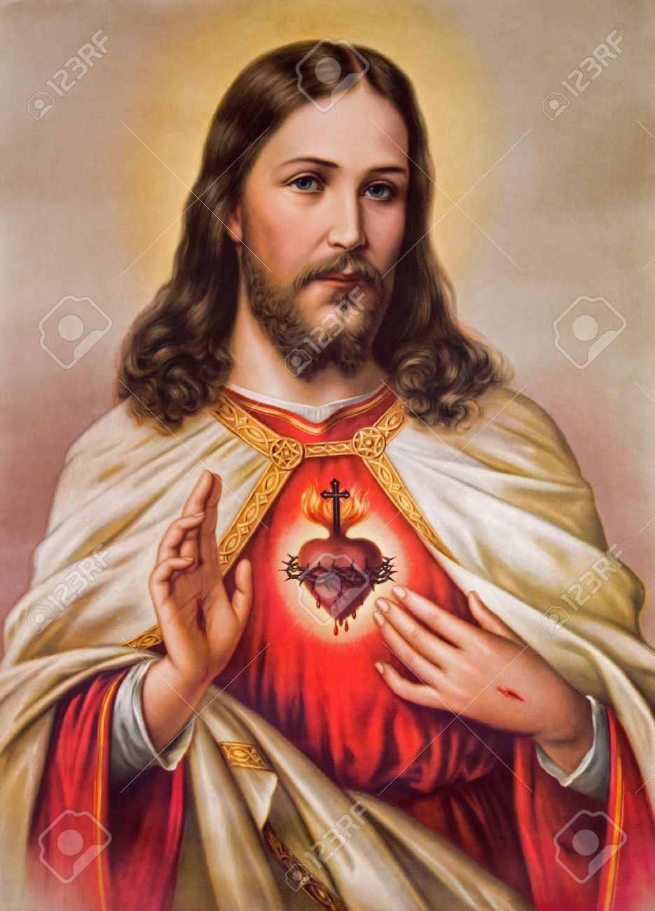 SEBECHLEBY, SLOVAKIA - JANUARY 6, 2015: Typical catholic image of heart of Jesus Christ from Slovakia printed in Germany from the begin of 20. cent. originally by unknown artist. - 35493551