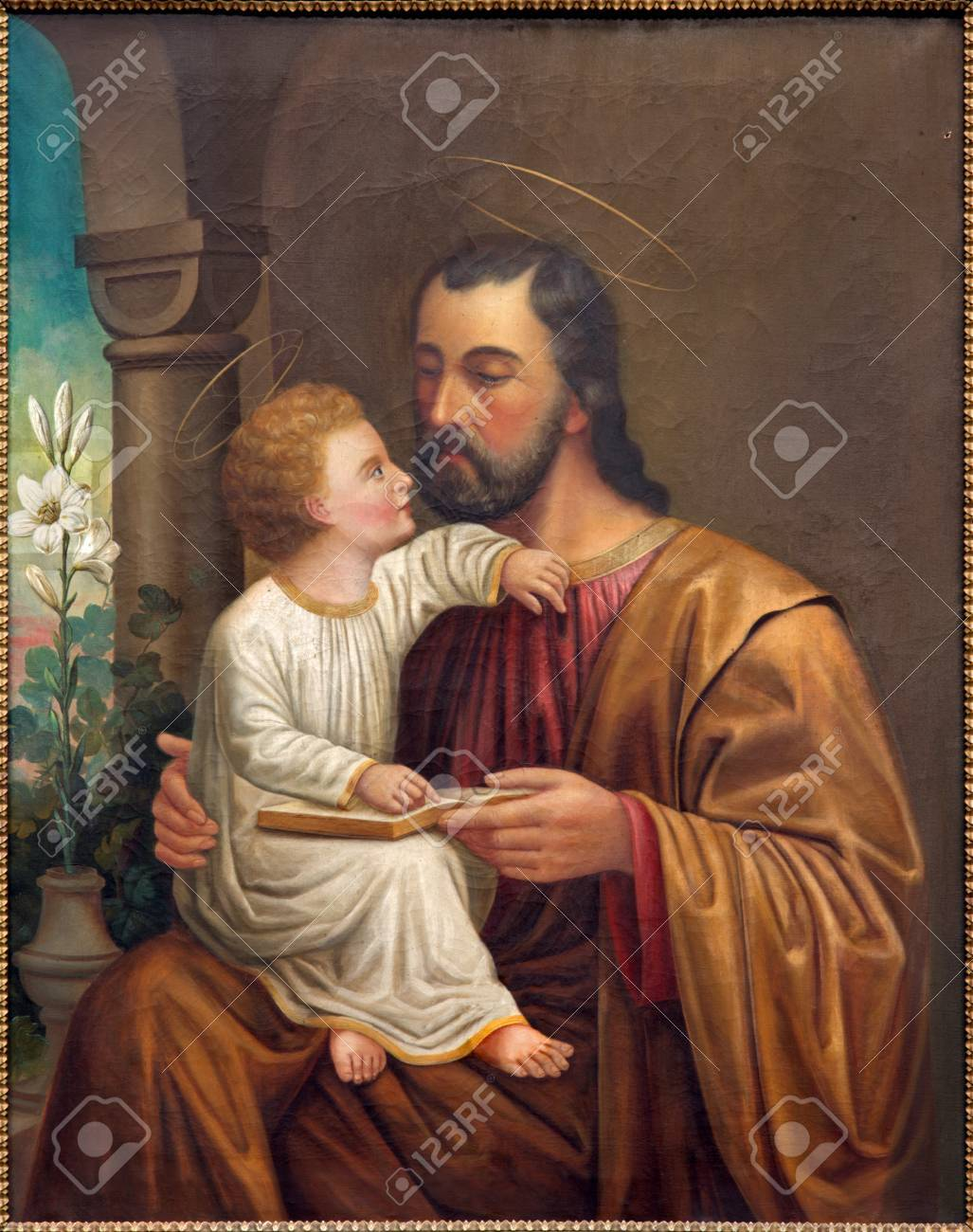 VIENNA, AUSTRIA - DECEMBER 17, 2014: The St. Joseph paint on the side altar of Salesianerkirche by unknown artist of 19. cent. - 35912110