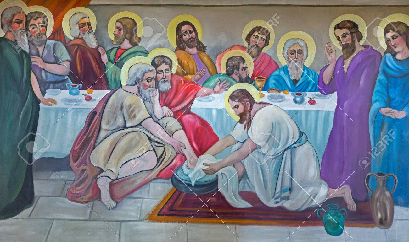 BETHLEHEM, ISRAEL - MARCH 6, 2015: The modern fresco of Feet washing at the last supper from 20.cent. in Syrian orthodox church by artist K. Veniadis (1987). Stock Photo - 38897051