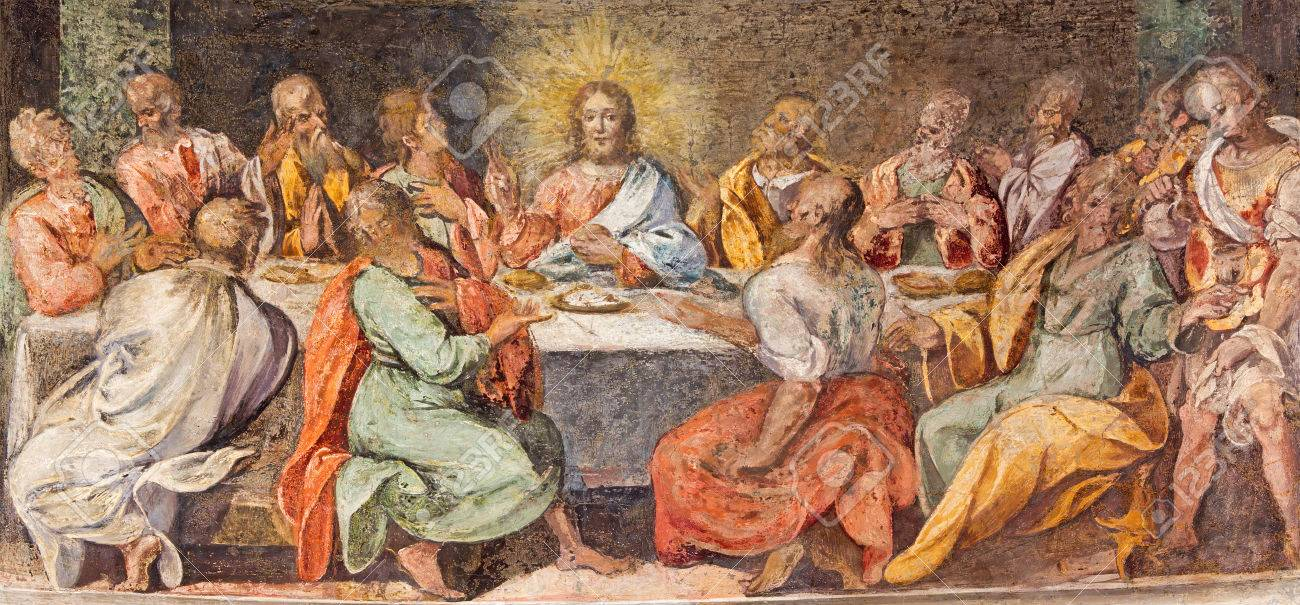 ROME, ITALY - MARCH 25, 2015: The Last supper. Fresco in church Santo Spirito in Sassia by unknown artist of 16. cent. - 38897086