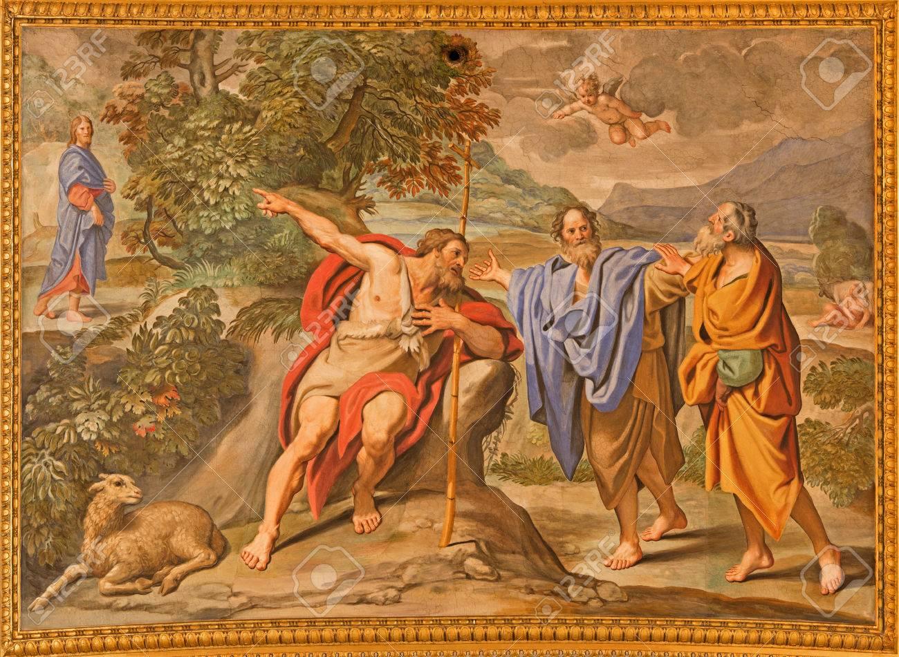 ROME, ITALY - MARCH 27, 2015: The fresco as The John the baptist shows the Christ church Basilica di Sant Andrea della Valle by Domenichino (1621 - 1628) - 39272053