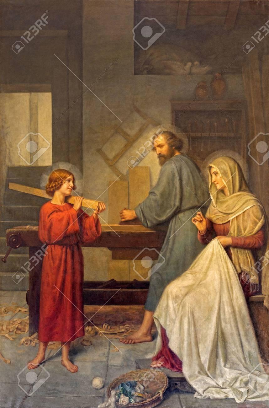 ROME ITALY  MARCH 25 2015: The painting of Holy Family by Angelo Zoffoli 18601910 in baroque church Basilica dei Santi Ambrogio e Carlo al Corso. Stock Photo - 39812529
