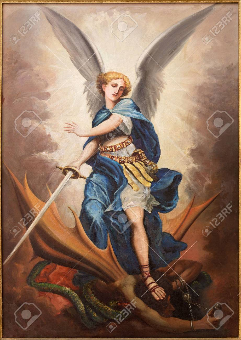 TEL AVIV, ISRAEL - MARCH 2, 2015: The paint of archangel Michael from st. Peters church in old Jaffa by P. Zalarn from end of 19. cent. Stock Photo - 41648837