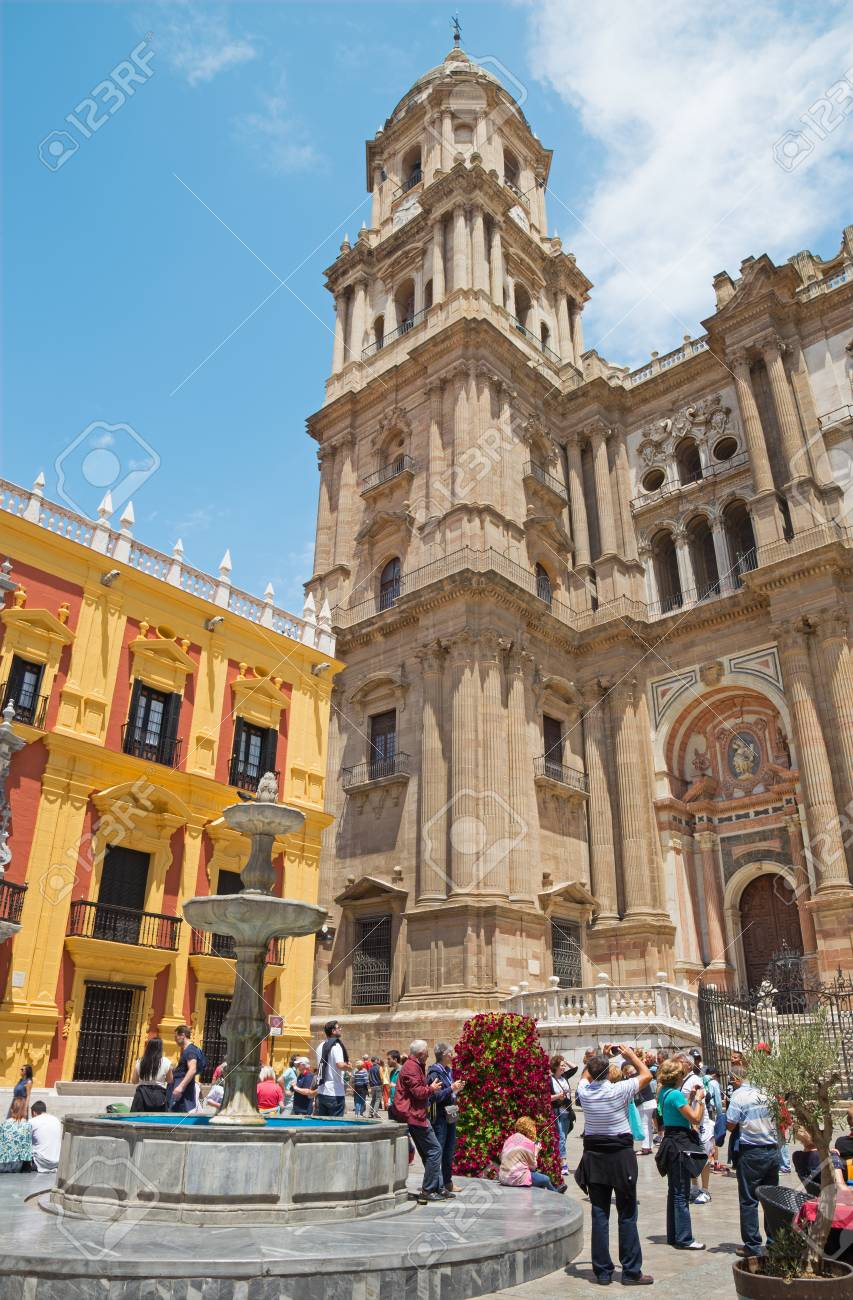 Malaga Spain May 25 2015 The Cathedral Tower And Fountain