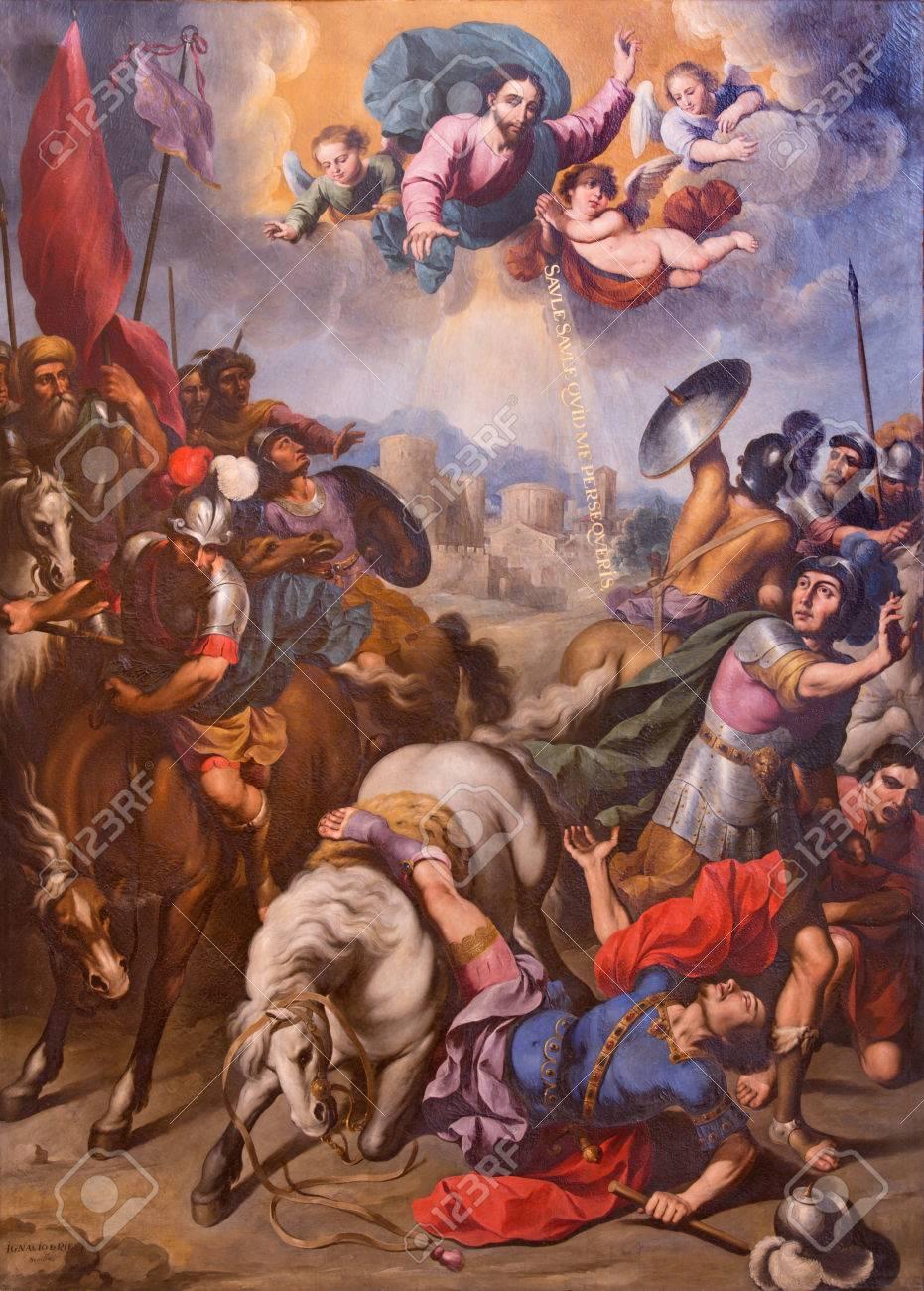 SEGOVIA, SPAIN, APRIL - 14, 2016: The Conversion of St. Paul painting by Ignacio de Ries (1612 - 1661) in Cathedral Nuestra Senora de la Asuncion y de San Frutos de Segovia. - 58864766