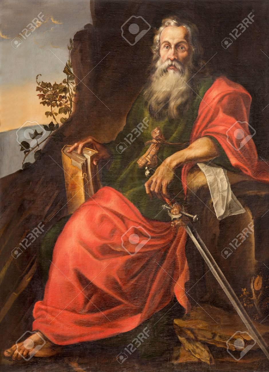 SALAMANCA, SPAIN, APRIL - 16, 2016: The St. Paul painting in Convento de San Esteban by unknown artist of 17. cent. - 58862564