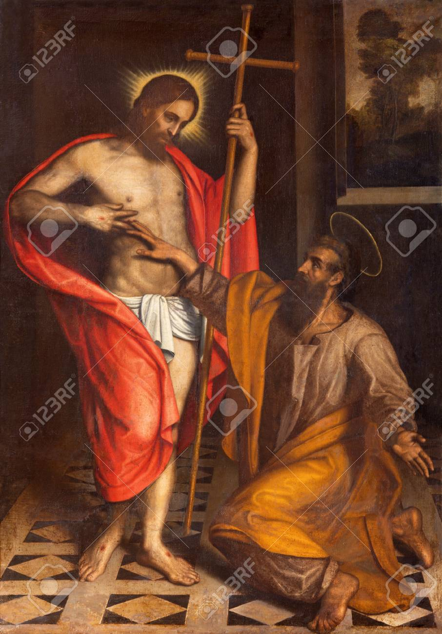 BRESCIA, ITALY - MAY 22, 2016: The painting The Doubt of St. Thomas in church Chiesa di San Faustino e Giovita by unknown artist of 16. cent. - 64692841