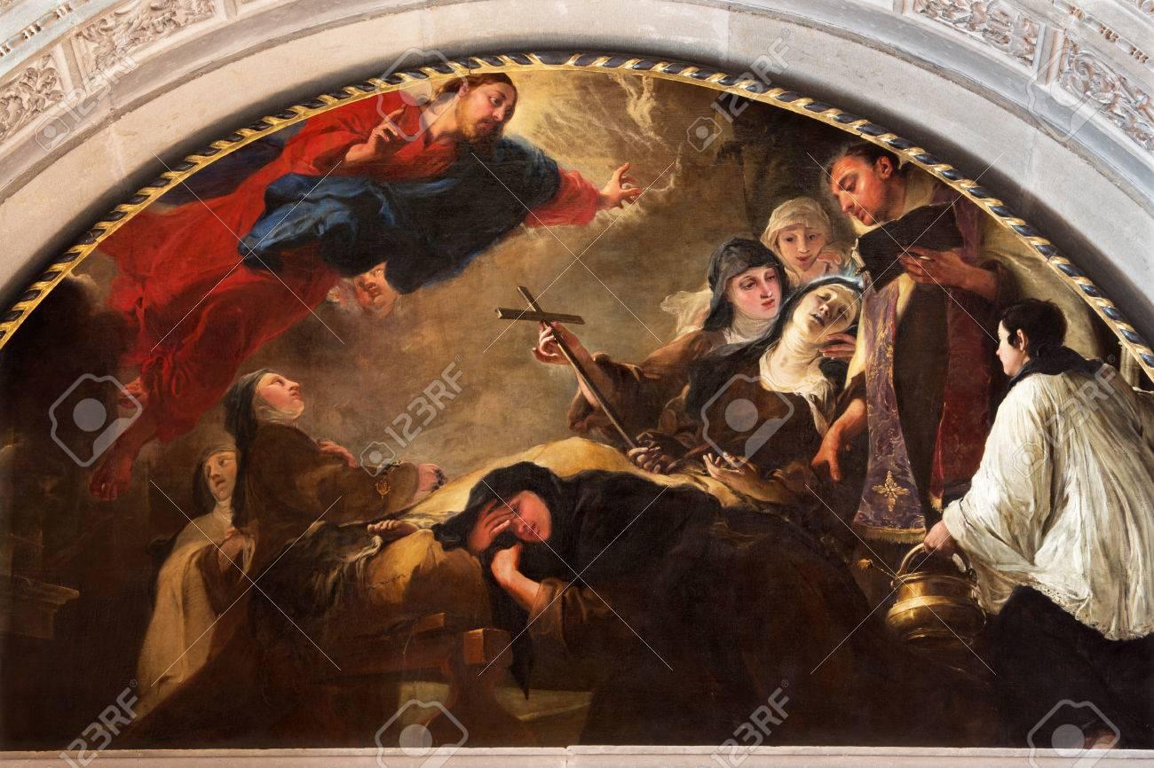 BRESCIA, ITALY - MAY 22, 2016: The painting The death of St. Theresa of Avila in Chiesa di San Pietro in Olvieto by Giovanni Segala da Murano (1696). - 64692878