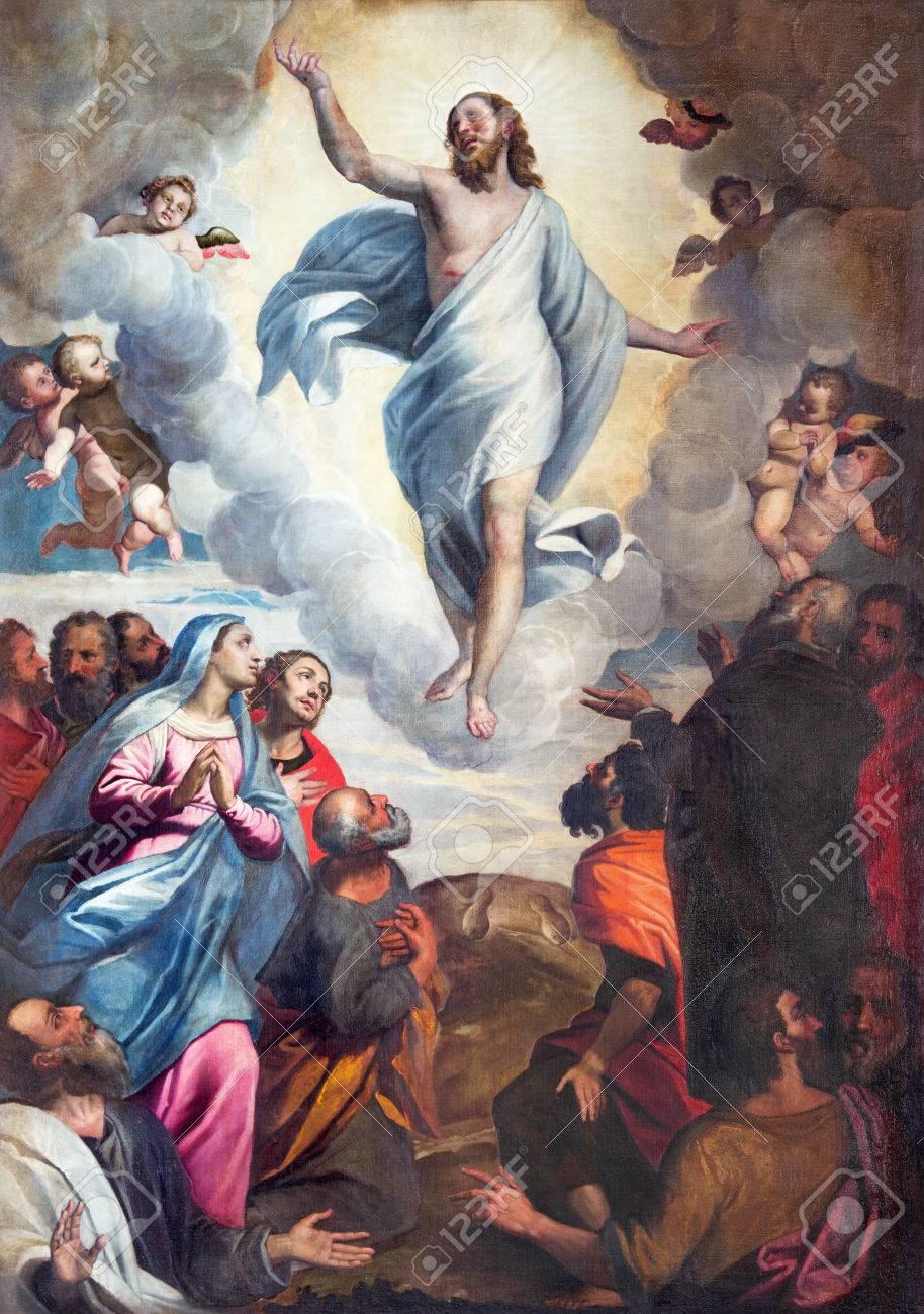 BRESCIA, ITALY - MAY 22, 2016: The painting Ascension of the Lord in church Chiesa di Santa Maria del Carmine by Bernardino Gandino (1587 - 1651). Stock Photo - 64692963