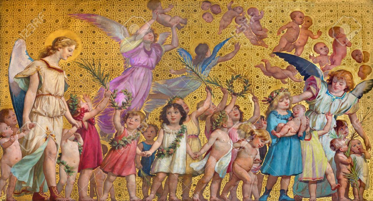 TURIN, ITALY - MARCH 15, 2017: The symbolic fresco of holy innocents children with the angels in church Chiesa di San Dalmazzo by Enrico Reffo (1831-1917). - 83965049