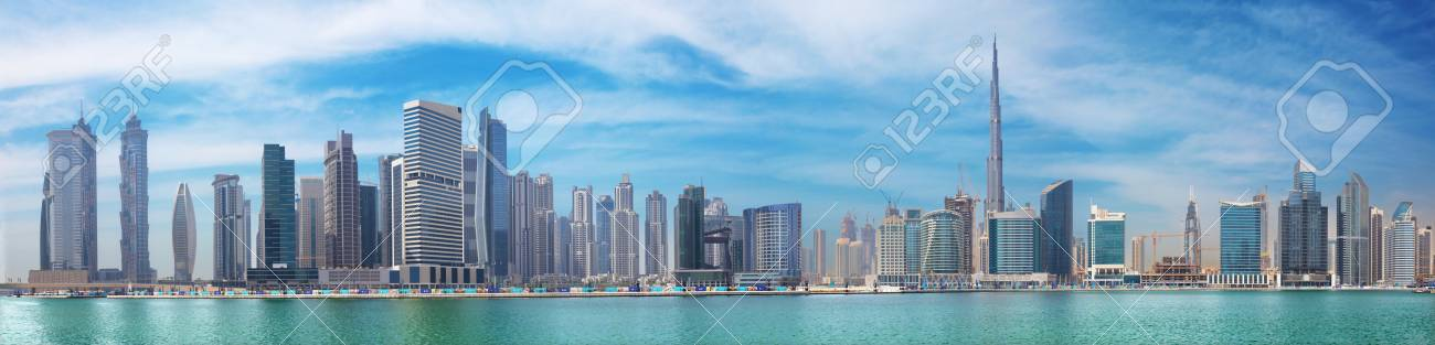 DUBAI, UAE - MARCH 29, 2017: The panorama with the new Canal and skyscrapers of Downtown. - 83965229