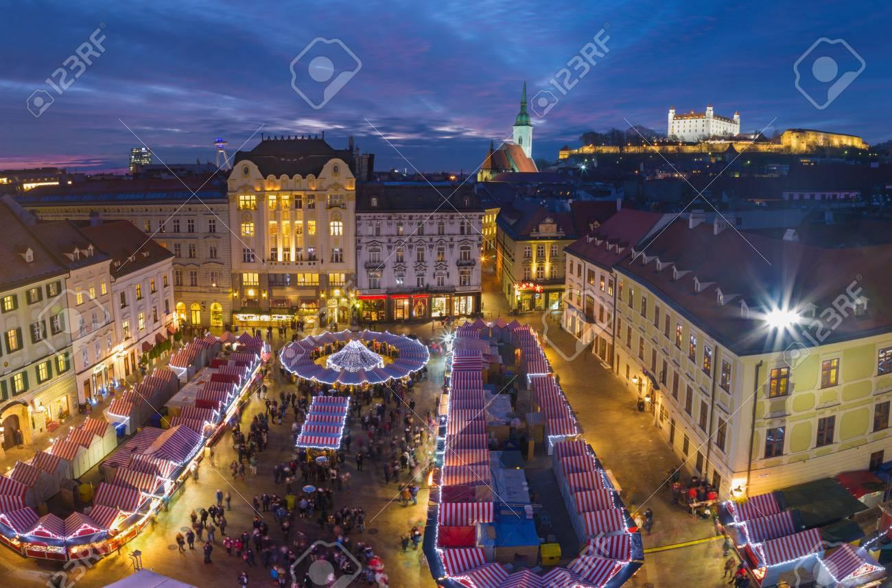 Christmas Bratislava.Bratislava Christmas Market On The Main Square In Evening Dusk