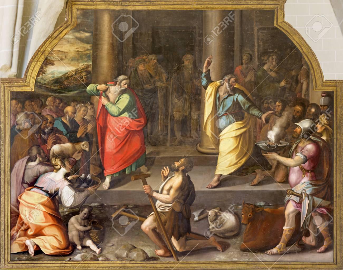 ZARAGOZA, SPAIN - MARCH 3, 2018: The biblical scene of miracel heain of St. Paul and st. Barnabas in Lystra in the church Iglesia de San Pablo by Antonio Glaceran and Jeronimo de Mora (1596). - 117431813