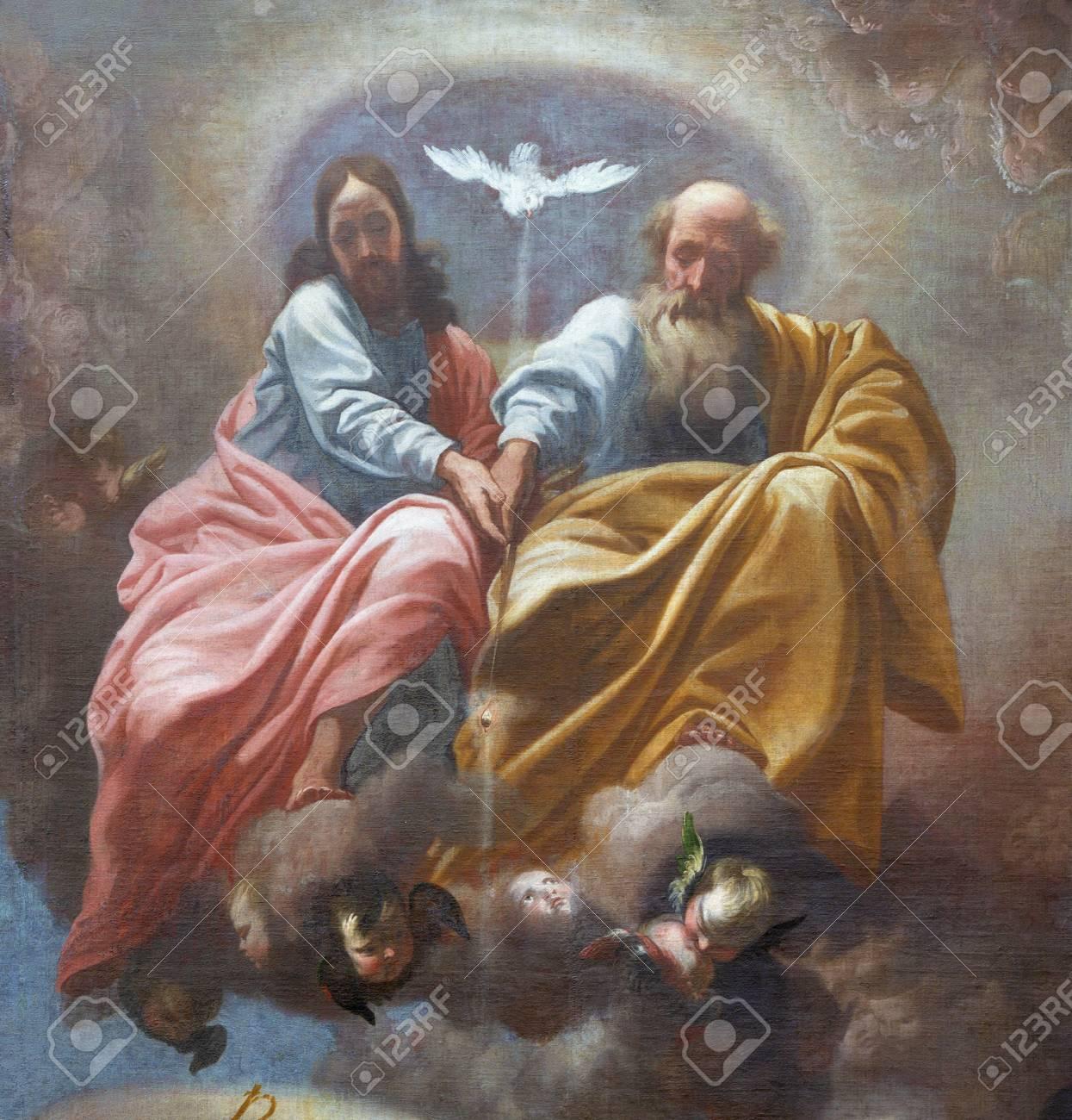 PRAGUE, CZECH REPUBLIC - OCTOBER 12, 2018: The baroque painting of Holy Trinity in church kostel Svatého Tomáše by Karel Škréta (1610 - 1674). - 117432189