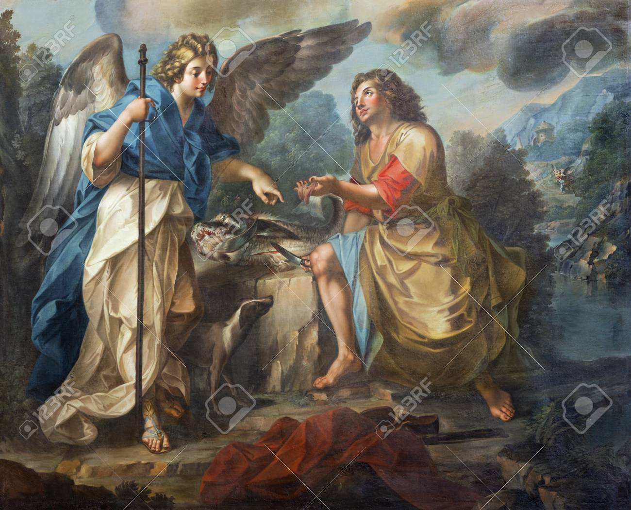CATANIA, ITALY - APRIL 7, 2018: The detail of painting of Tobias and archangel Raphael in church Chiesa di San Benedetto by Matteo Desiderato (1780). - 133113068