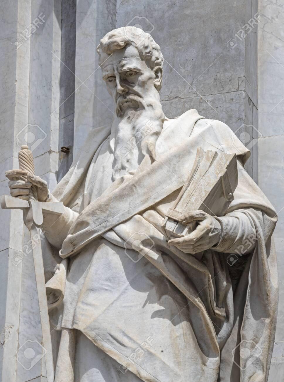CATANIA, ITALY - APRIL 8, 2018: The statue of St. Paul the Apostle in front of Basilica di Sant'Agata. - 150187706