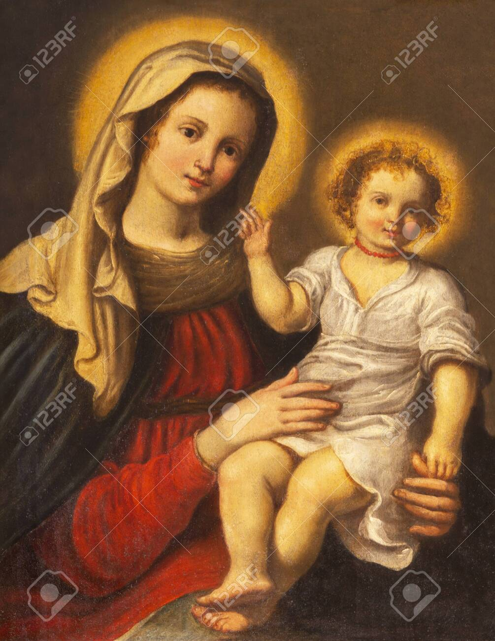 PARMA, ITALY - APRIL 17, 2018: The detail of Madonna in church Chiesa di Santa Lucia by master of Parma school from first half of 17. cent. - 151379475
