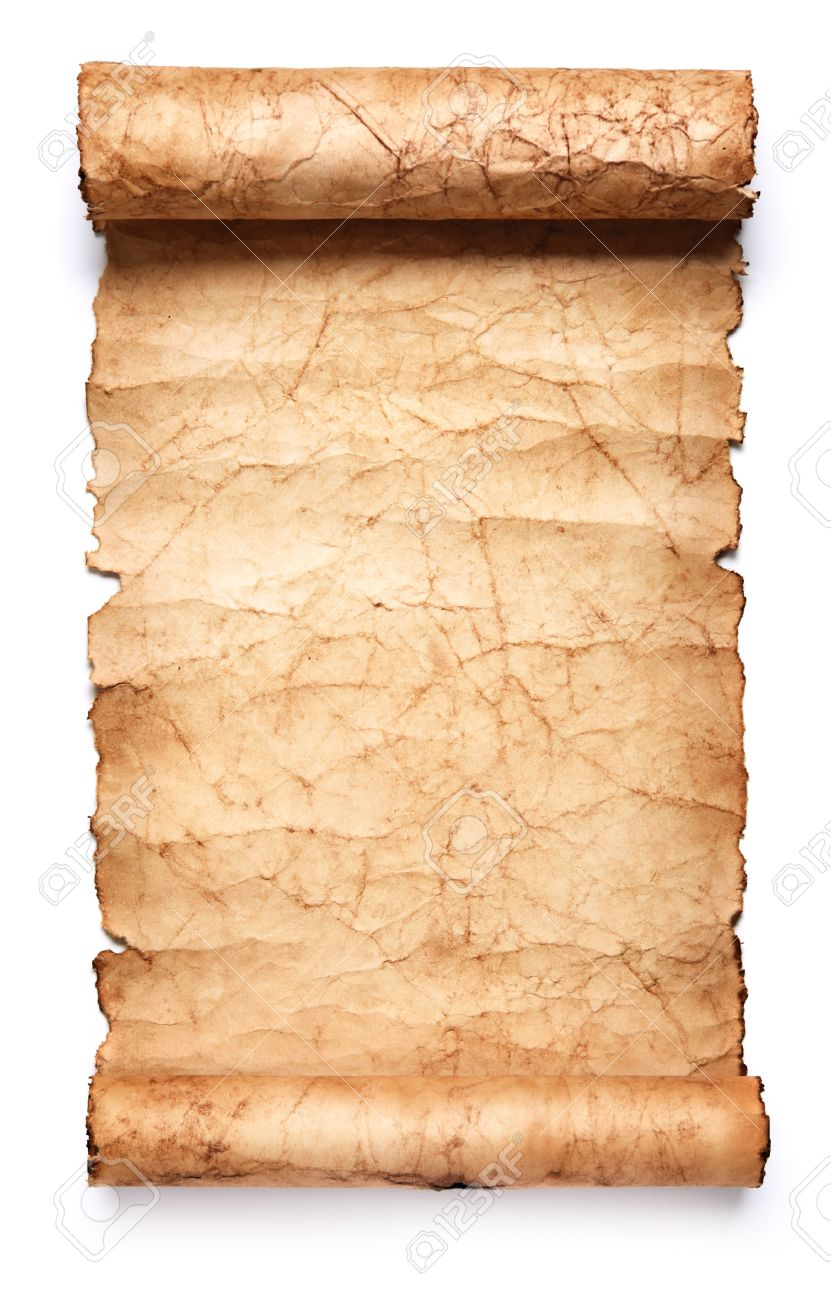 old paper scroll. isolated on white background stock photo, Powerpoint templates