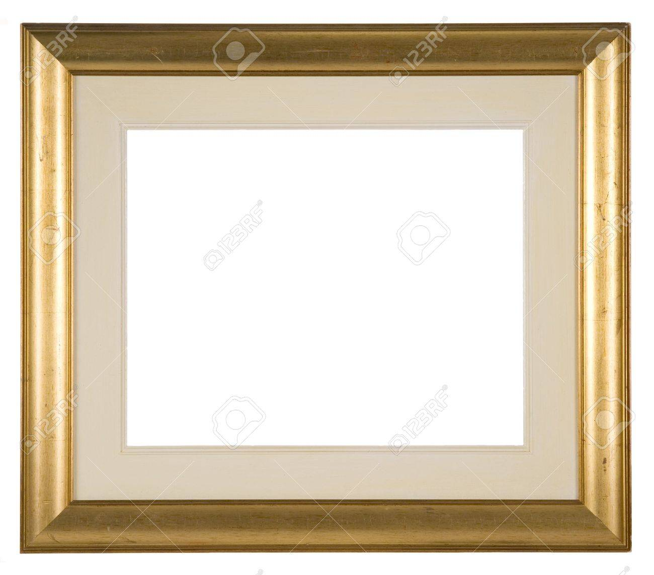 large empty distressed gold picture frame with mount isolated on white stock photo 12081549